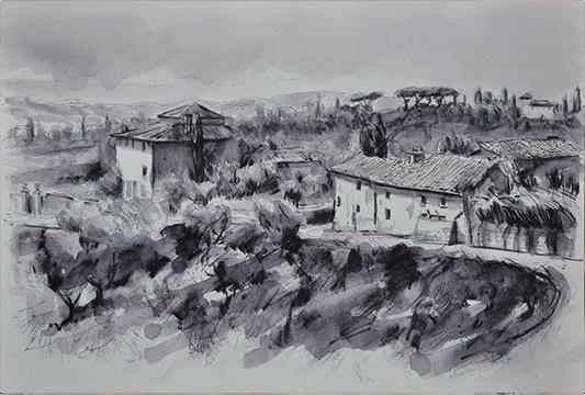 Dipinto: Sulla strada per Vincigliata - Matteo Piccinini - Bella Arti